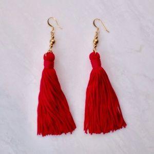 Kenneth Jay Lane Red Tassel Earrings